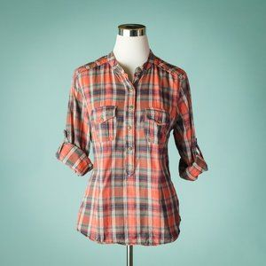 Sundance L Plaid Flannel Tab Roll Sleeve Top